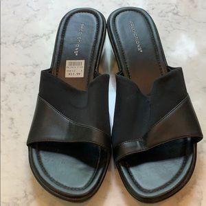 Predictions black wedge sandal size 12W NWT